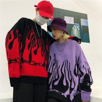 Autumn Winter Harajuku Flame Knitting Batwing Sleeve Sweater O Neck Women Tide Outerwear Printed Loose Pullover