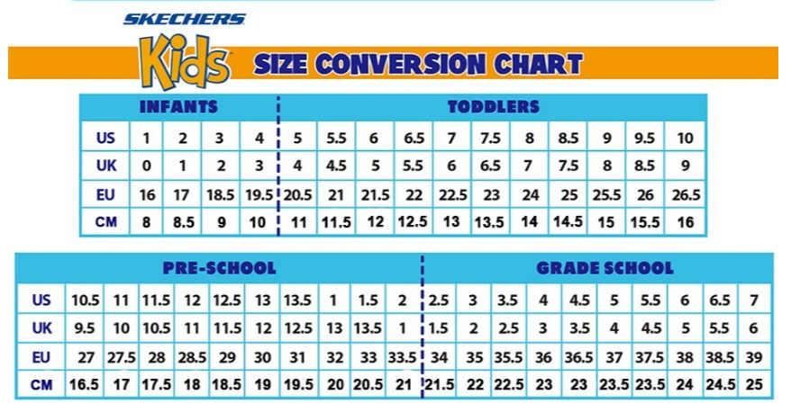 Skechers Kid Shoe Size Chart | Chelss