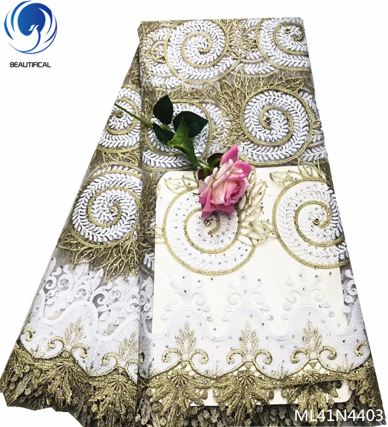 BEAUTIFICAL french lace with embrodery tulle fabric with stones 5 yards 2019 nigeria french lace high quality fabric ML41N44BEAUTIFICAL french lace with embrodery tulle fabric with stones 5 yards 2019 nigeria french lace high quality fabric ML41N44