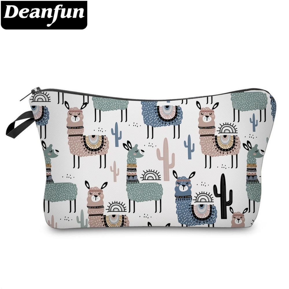 Deanfun Colorful Llamas Cosmetic Bag Waterproof Cactus Makeup Bags Travel Organizer Cosmetics Pouchs  51444