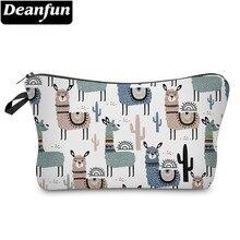 Deanfun Colorful Llamas Cosmetic Bag Waterproof Cactus Makeup Bags Travel Organizer Cosmetics Pouchs  51444