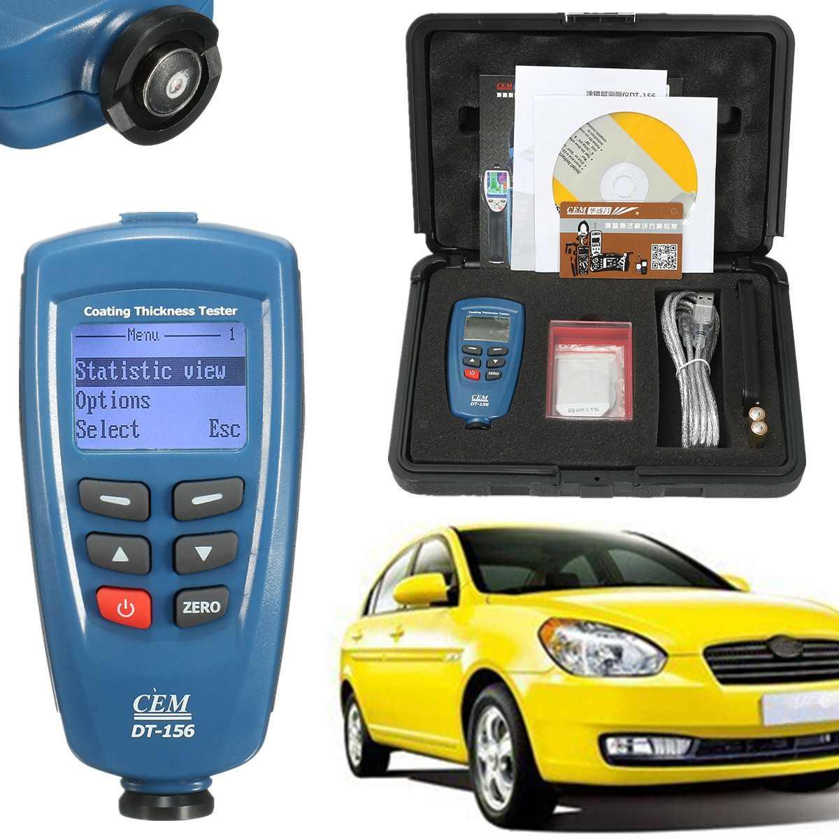 Digitale CEM DT-156 Vernice di Spessore di Rivestimento del Calibro del Tester del tester 0 ~ 1250um con Built-In Auto F & NF Sonda + cavo USB + CD del software