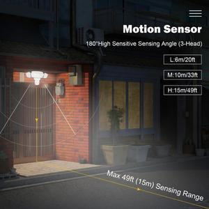 Image 4 - Luz de segurança do diodo emissor de luz 42w sensor de movimento ao ar livre luz de segurança 3 cabeças luz de inundação à prova dwaterproof água 3000lm 6000k iluminação ajustável
