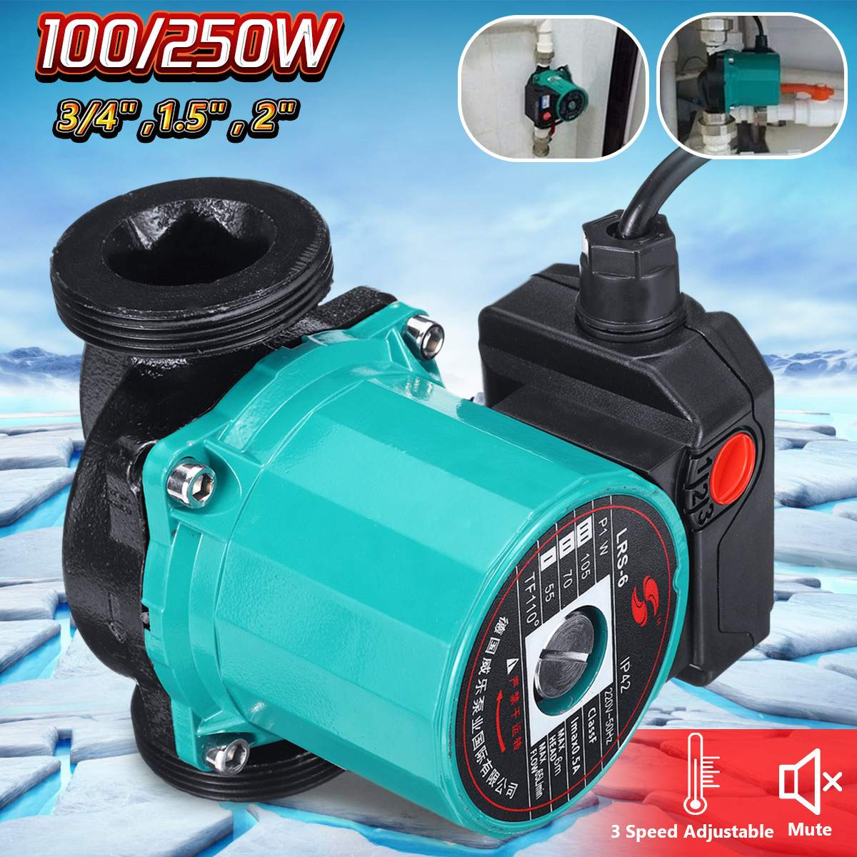 3-Speed 220V Central Heating Circulator Mute Boiler Hot Water Circulating Pump Cast Iron IP42 Protection F Class Insulation