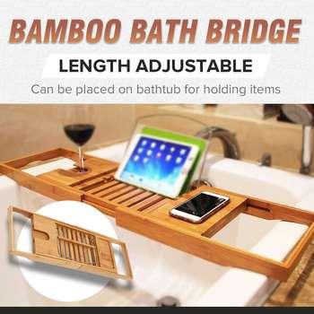 Regulowany półka łazienkowa wanna taca koszyk prysznicowy bambusa wanny stojak na wino uchwyt na książki do przechowywania akcesoria tanie i dobre opinie Jeden poziom Typ nadwozia Łazienka półki Bamboo Wood Drewna Bath Bridge Other