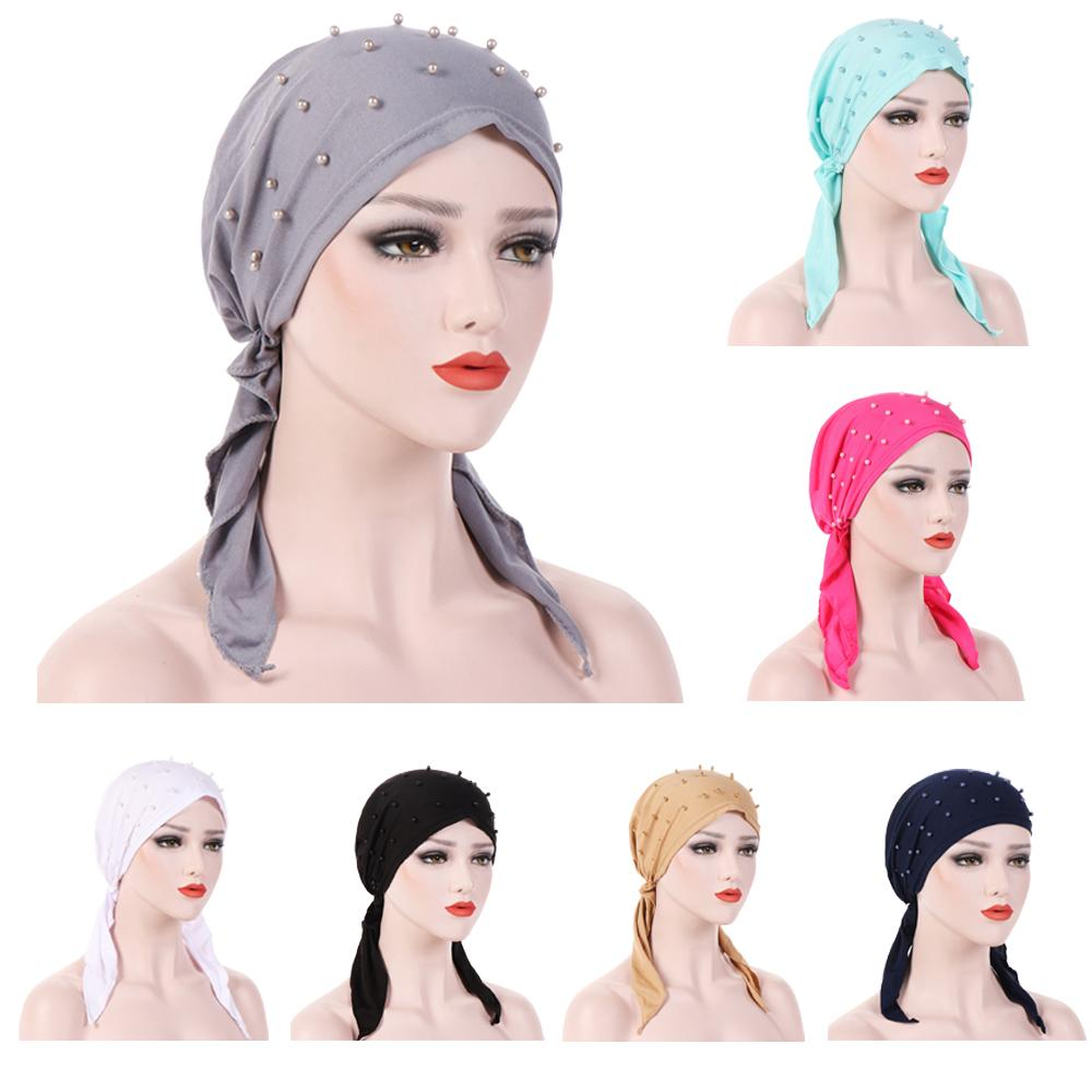 Muslim Women Hijab Abaya Cancer Chemo Hat Inner Cap Pearls Hair Loss Head Scarf Turban Head Wrap Islamic Cap Long Tail Bandanas