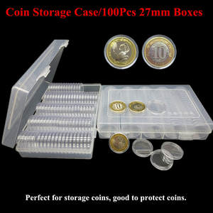 10x Spring Buckle Badge Coins Collect Protector Box Ring Storage Case Organizer