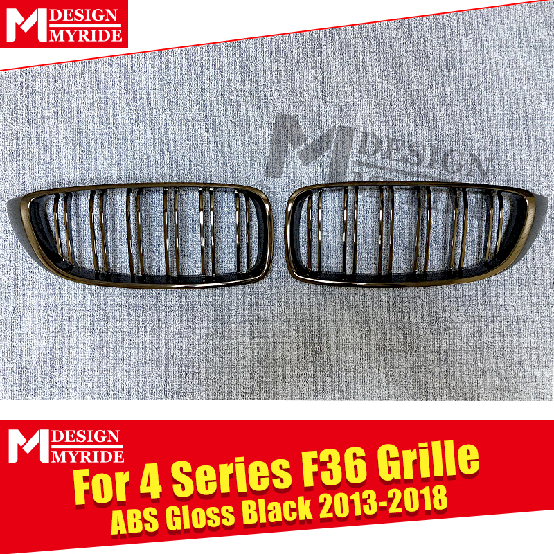 1 Pair F36 Grille M Style ABS Gloss Black For F36 4 door Hard Top 420i 428i 430i 435i 440i 2 Slats Front Kidney Grille 2013 2018 in Racing Grills from Automobiles Motorcycles