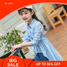 New Teenagers Kids Girls Shirts Fall 2018 Children Cotton Striped Shirt Dress Blue Blouses Clothes