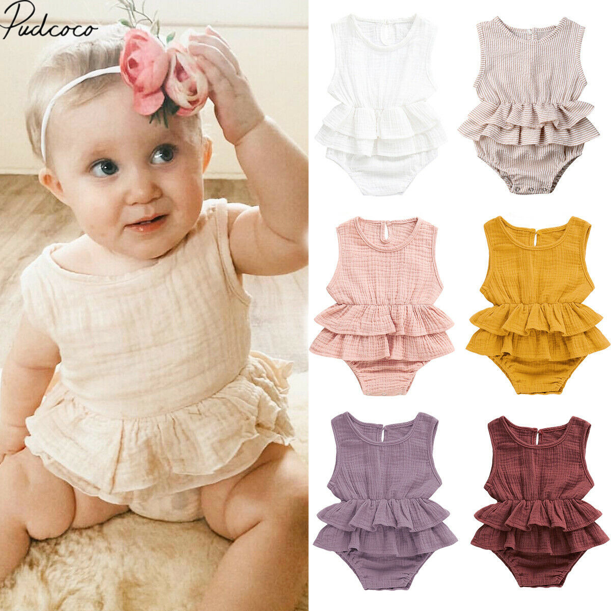 01ab5cc63 2019 Brand New Newborn Kids Baby Girls Striped Cotton Bodysuits Ruffled  Clothes Sleeveless Tutu Dress Cotton&Linen