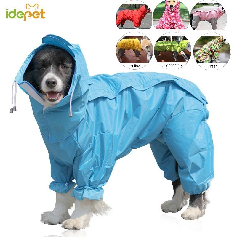 Large Dog Raincoat Clothes Pet Dog Raincoat Hoody Waterproof Rain Jumpsuit Jackets Coat Apparel Clothes For Medium Small Dogs 45
