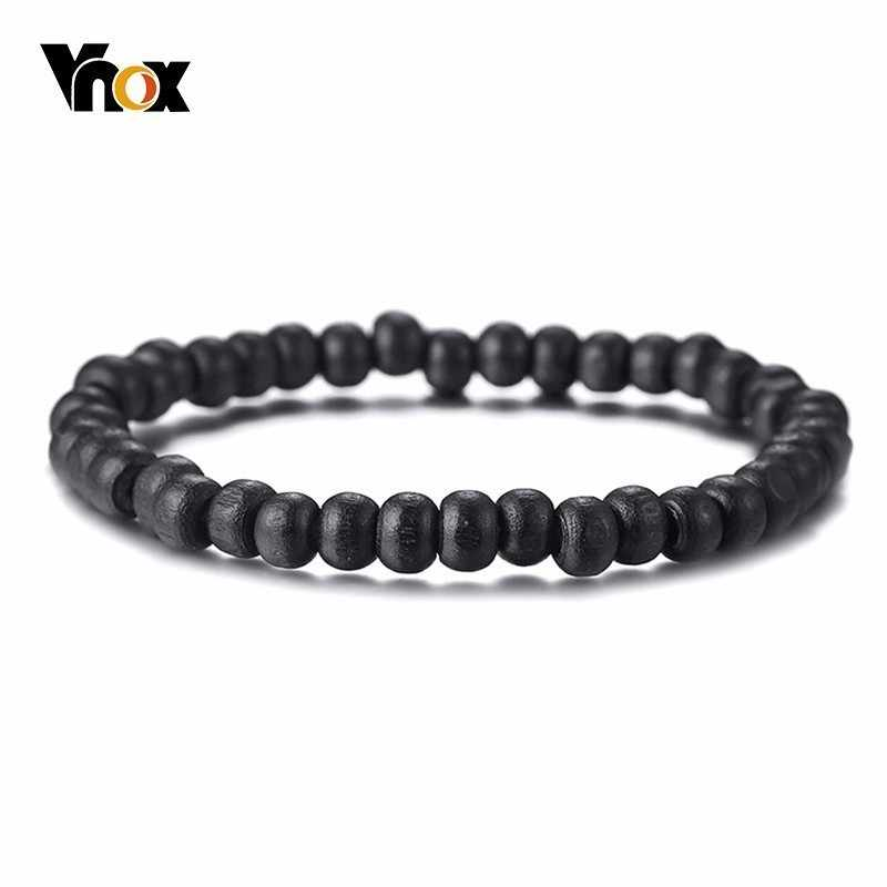 Vnox Classic Black Wood Beads Bracelets for Women Men Vintage Wooden Accessory Adjustable Elastic Rope Chain Stretch Pulseira