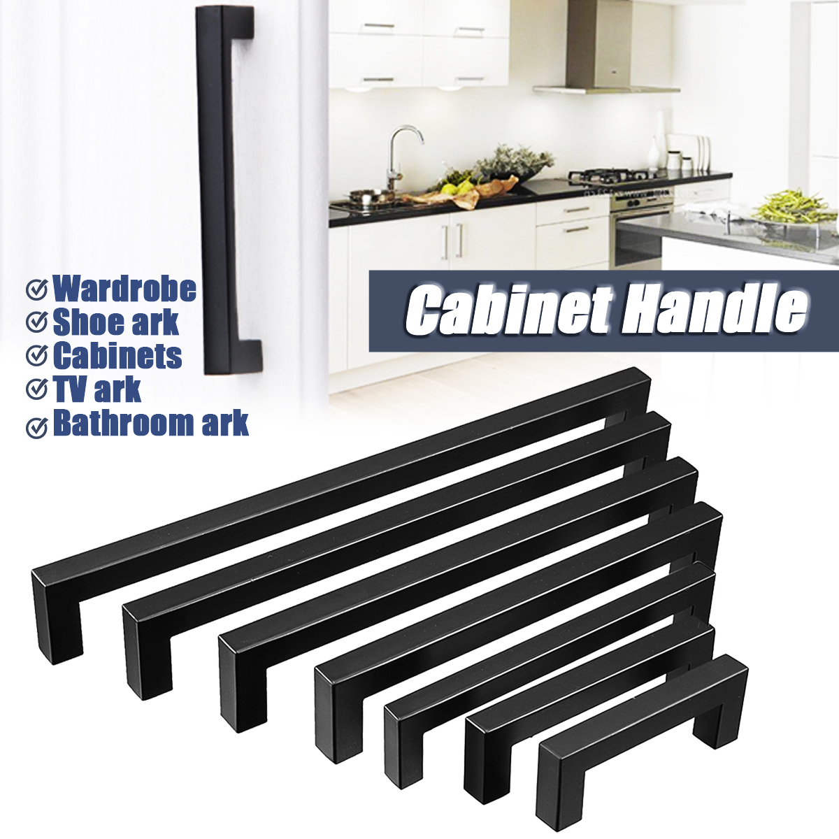 Detail Feedback Questions About 3inch 15inch Black Stainless Steel Kitchen Cabinet Handles Door S Square Closet Drawer Cupboard Pulls Bathroom