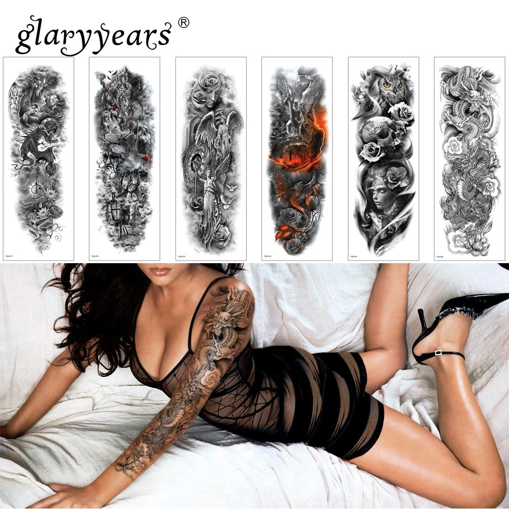 glaryyears 1 Sheet Full Arm Temporary Tattoo Sticker Colorful Fake Tatoo Sleeve Flash Tatto Waterproof Big Body Art Men Women image