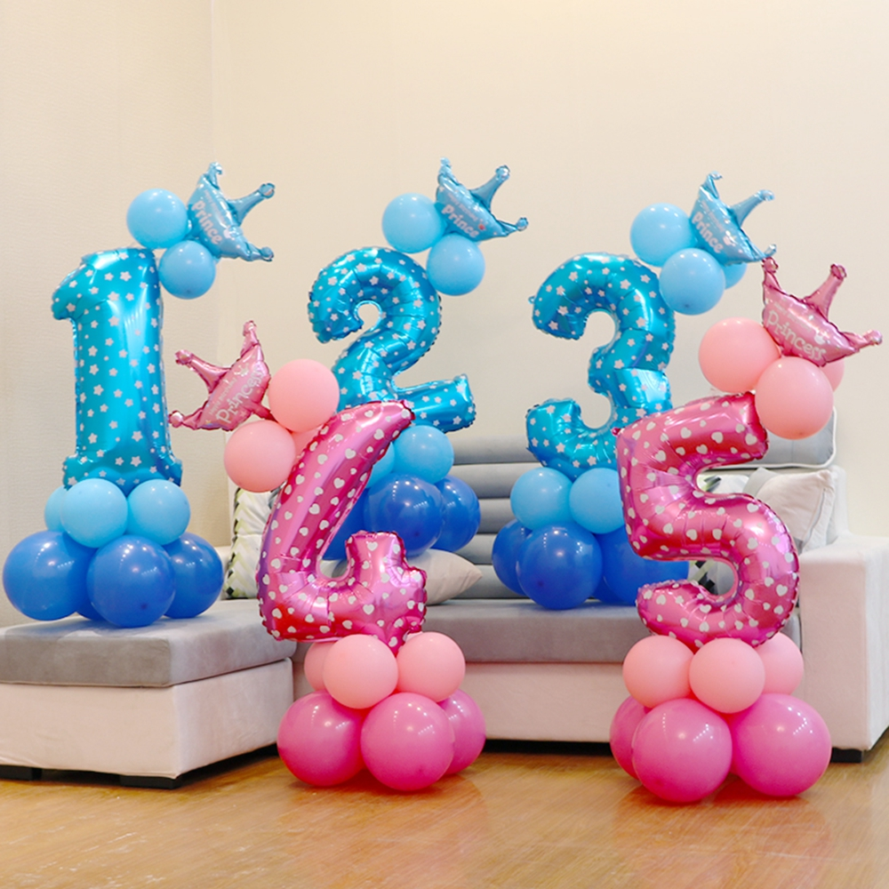 Intellective 13pcs/set Birthday Balloons Blue Pink Number Foil Balloons 1 2 3 4 5 6 7 8 9 Years Happy Birthday Party Decorations Kids Ballon Event & Party