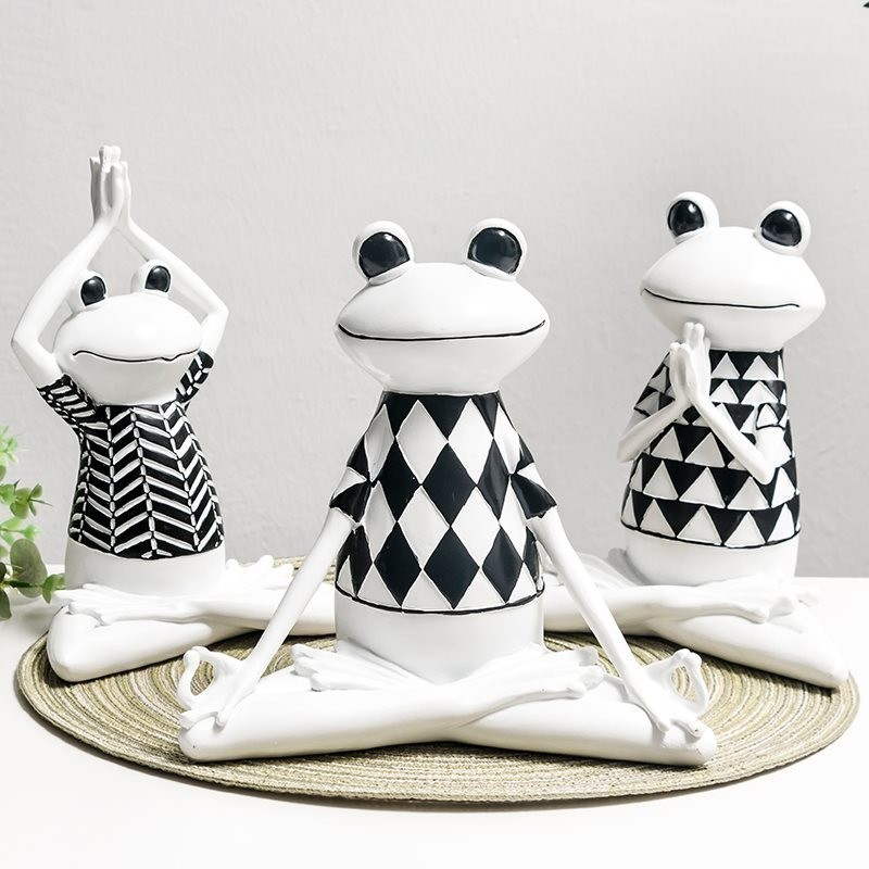 Yoga Frog Figurines Resin Crafts Restaurant Television Cabinet Decoration Home Decor ElimElim in Figurines Miniatures from Home Garden