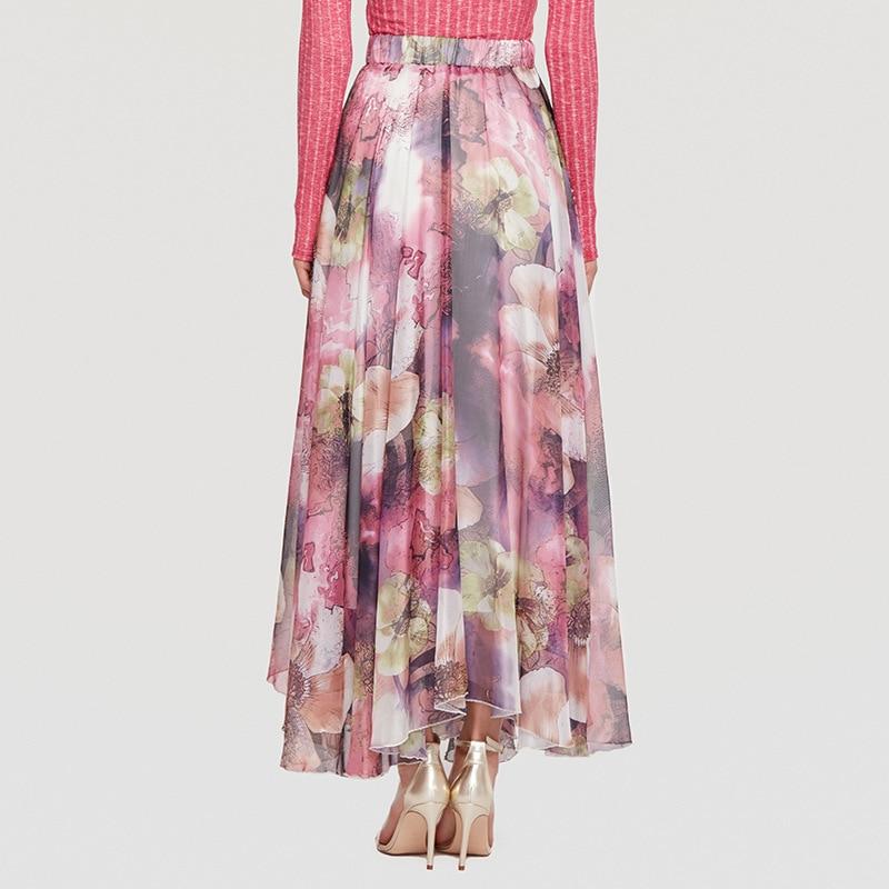 Haute 2018 Long Beige Imprimé Grande Femme Taille Dot pourpre Nouvelles Beach Floral Patineur Femmes Bohême Jupes O8r2 Polka De Mode r6qrpxw
