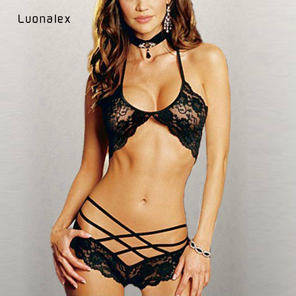 2019 Ladies Hot Sexy Lingerie Halter Sleepwear Lace Sexy Costumes Women Sexy Underwear Temptation Erotic Lingerie Porno Costumes