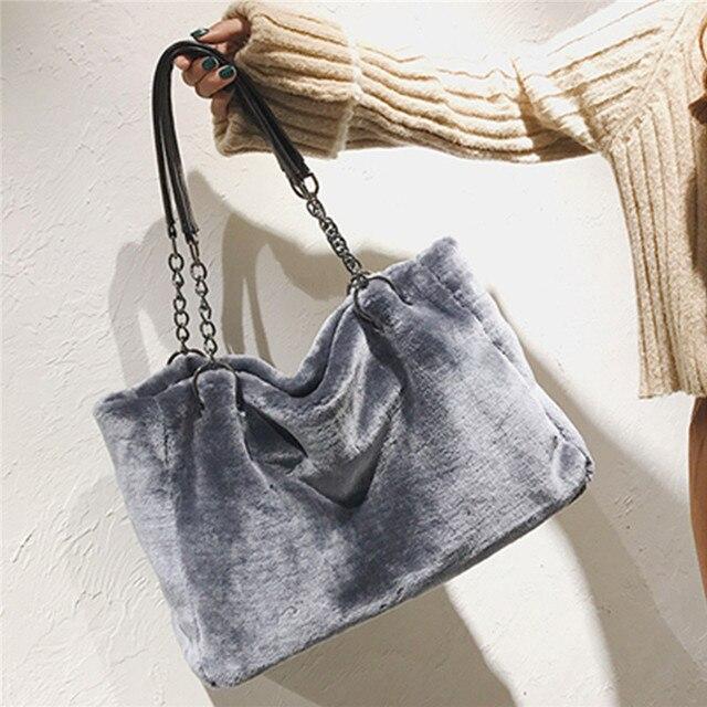 AEQUEEN Red Luxury Faux Fur Bags For Women Handbag Large Capacity Women Winter Shoulder Bag Females Tote Top-handle Feminine Bag 1