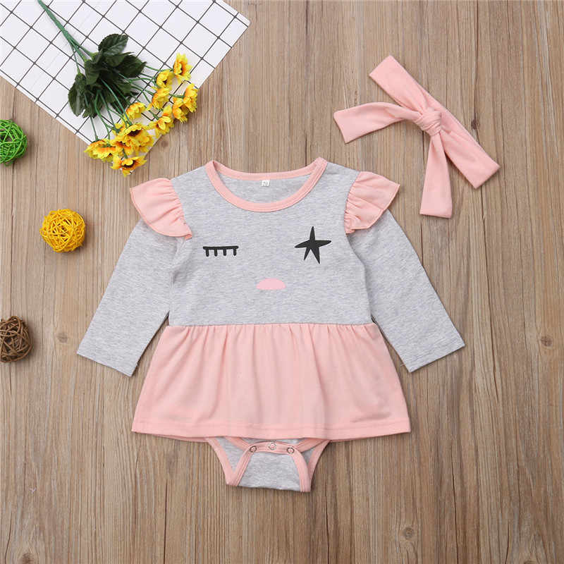 d8e219fbc09 ... Newborn Baby Girl Clothes 2 types cute eyes rompers Cotton Ruffles Dress  Rompers Jumpsuit Headband Outfit ...