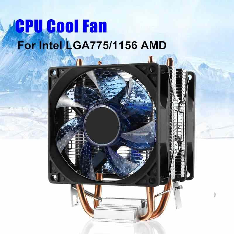 6 Heatpipes CPU Cooler Dual Fan 80mm 95W Heatsink Radiator for Intel LGA 775/1155/1156 & AMD AM2/AM2+/AM3 for Pentium