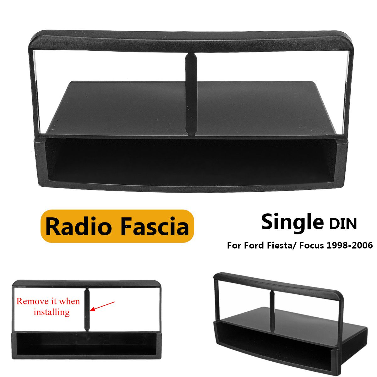 Car Stereo Radio DVD Fascia Panel Plate Frame 1 Din Panel Audio Dash Mount Kit Adapter for Ford for Fiesta for Focus 1998-2006 image