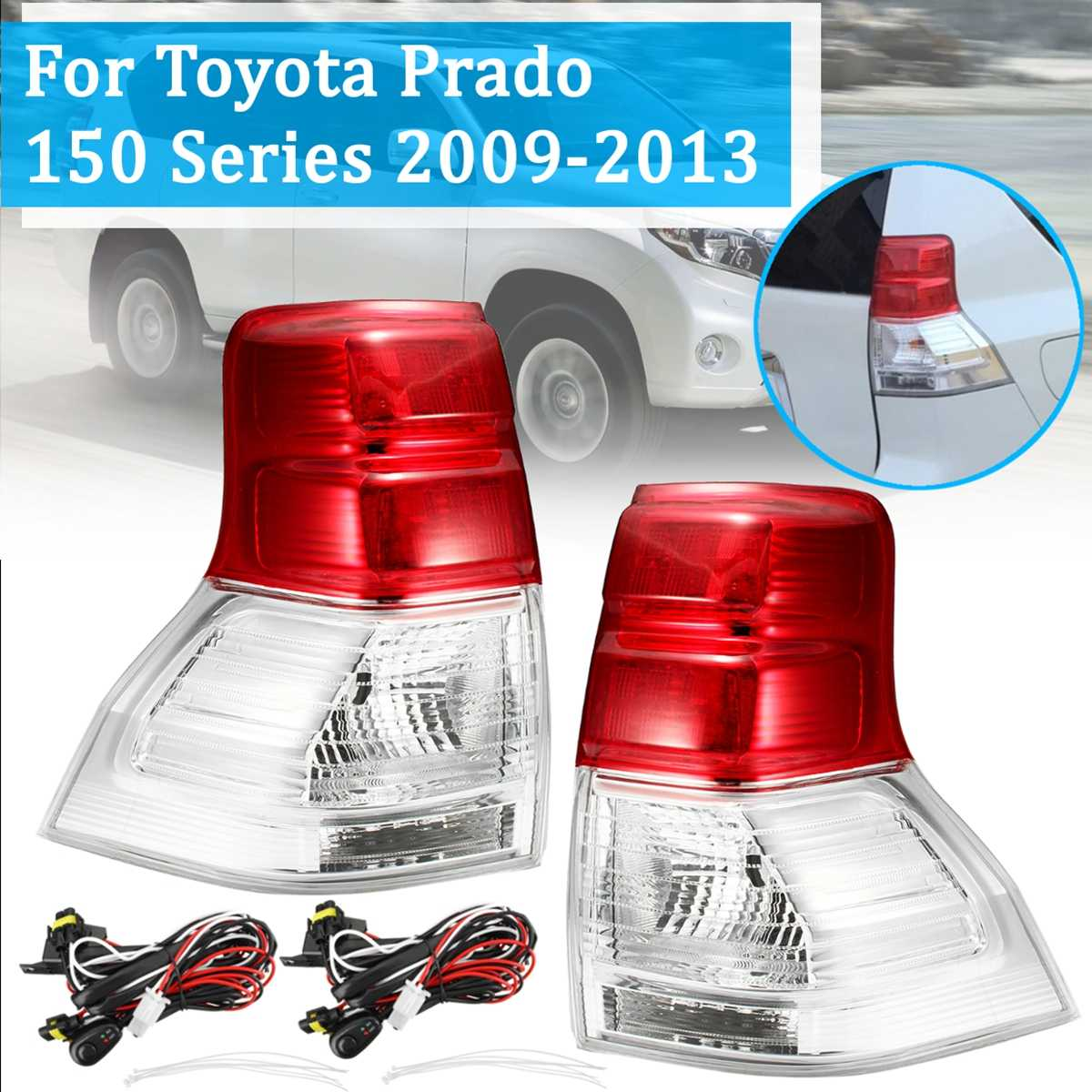 For TOYOTA PRADO 150 SERIES 09-2013 1Pair Tail Light Lamp Without Bulb With Harness Left Right Brake Rear Light Car StylingFor TOYOTA PRADO 150 SERIES 09-2013 1Pair Tail Light Lamp Without Bulb With Harness Left Right Brake Rear Light Car Styling