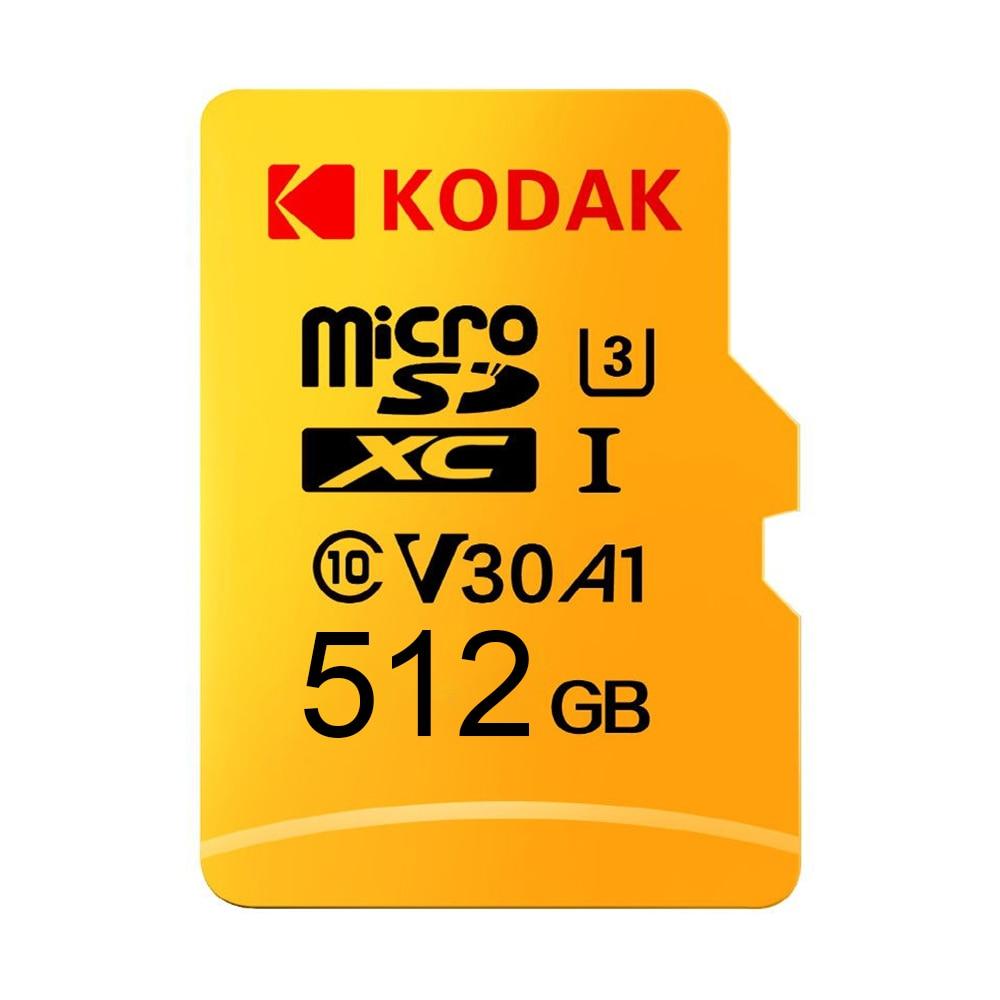 Kodak Micro SD Carte 512 GB TF Carte U3 A1 V30 Carte Mémoire 100 Mo/S Vitesse De Lecture 4 K Vidéo record