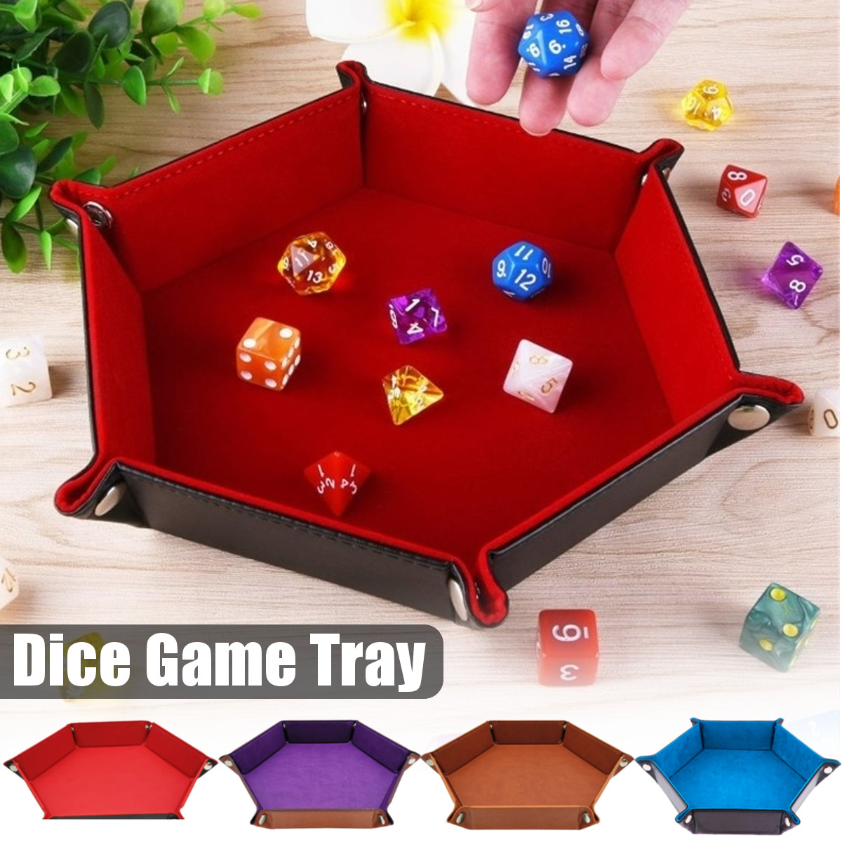1Pc PU Leather Folding Hexagon Dice Tray Dice Plate Box Hexagon Board For RPG DnD Games Bar Club Dice Storage Tray High Quality image