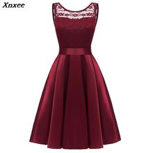 New  Women Floral Lace Dress Satin Sleeveless V Backless Tied A-Line Swing Vestido Elegant Evening Party Dress Women Xnxee