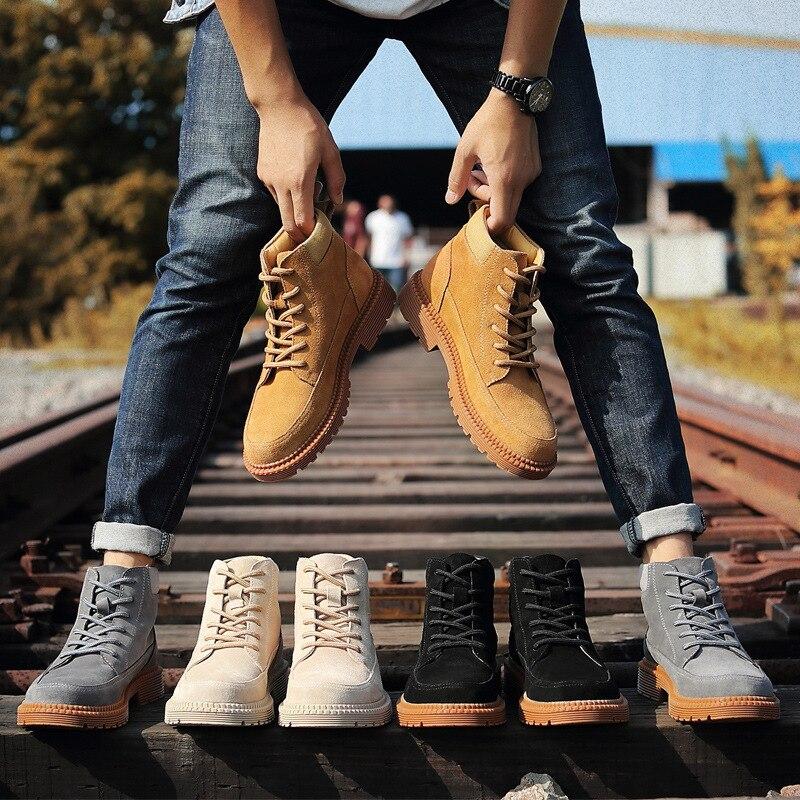 brown Chaussures Étanche black Air En Hombre Plein De 2018 Bottes gray Véritable Sécurité Beige Hiver Martin Cuir Hommes Zapatos Nouvelle Solide Tendance Hx7wPXqZZR