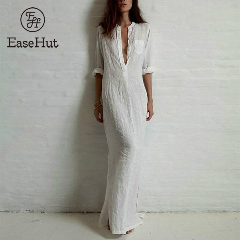 EaseHut Summer Dress Women 2019 Boho Solid Rolled Long Sleeve Button Shirt Sundress Elegant Loose Maxi Long Dress Plus Size