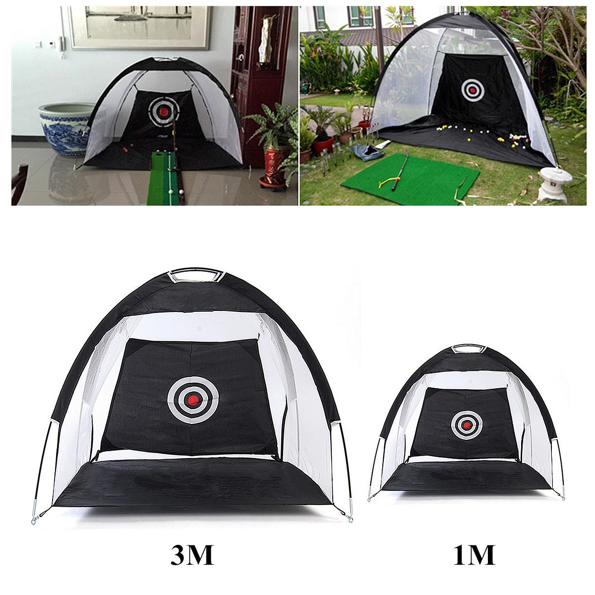 3m/1m Black Foldable Golf Hitting Cage Practice Net Trainer 210D Encryption Oxford Cloth+Polyester Durable sturdy construction