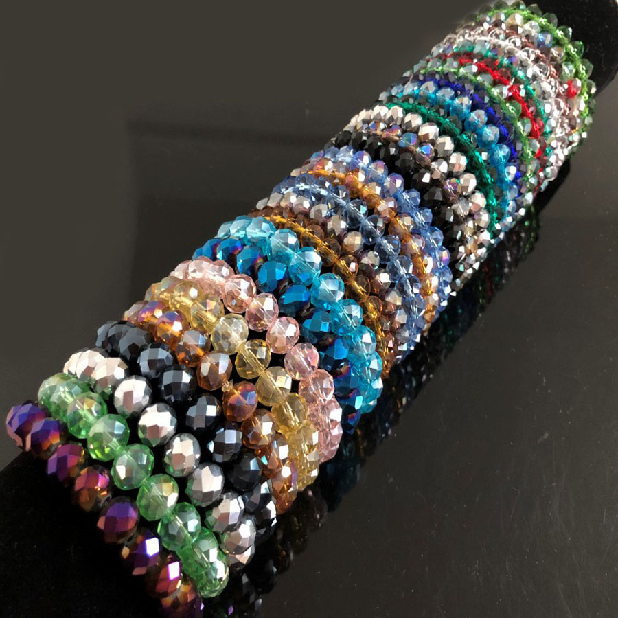 Bangle Bracelets Wrap Jewelry Beaded Crystal Rhinestone Glass Handmade Femme Women's title=
