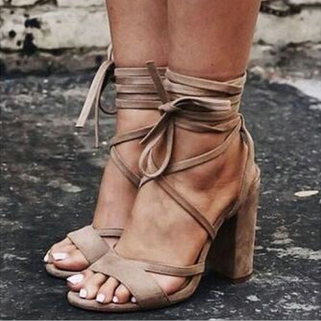 1e6520834a86 Suede Leather Design Women Sandals 2019 New Sexy High Heels Summer Shoes  Gladiator Bandage Cross Tied