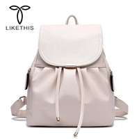 LIKETHIS High Quality PU Leather School Bag Women Backpack For Teenager Girls Large Capacity 2018 Solid Drawstring Zaino Donna