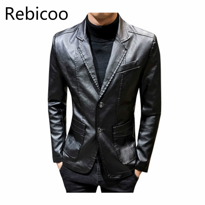Men's Leather  Autumn And Winter Slim Men's Jacket Youth Leather Jacket Handsome Lapel Jacket Leather Suit Rebicoo282