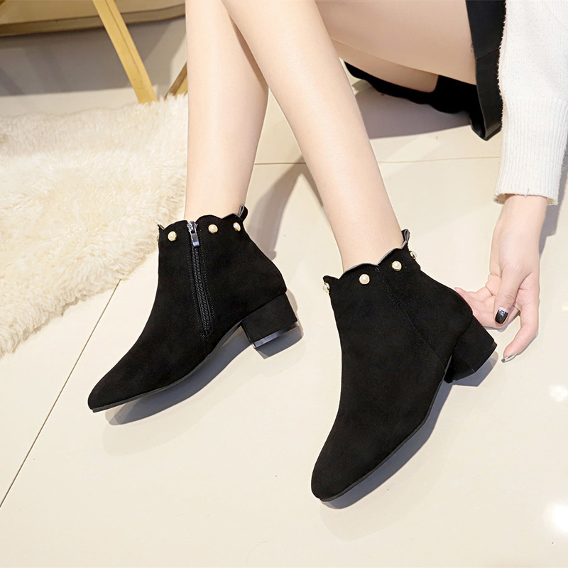 Gris Pie Negro De 2019 Botas Zapatos black Del Moda Bajo Con Grueso Redondo Dedo Tacón Gamuza Mujer Khaki Cuero Tobillo Perlas 7d1q1xw5A