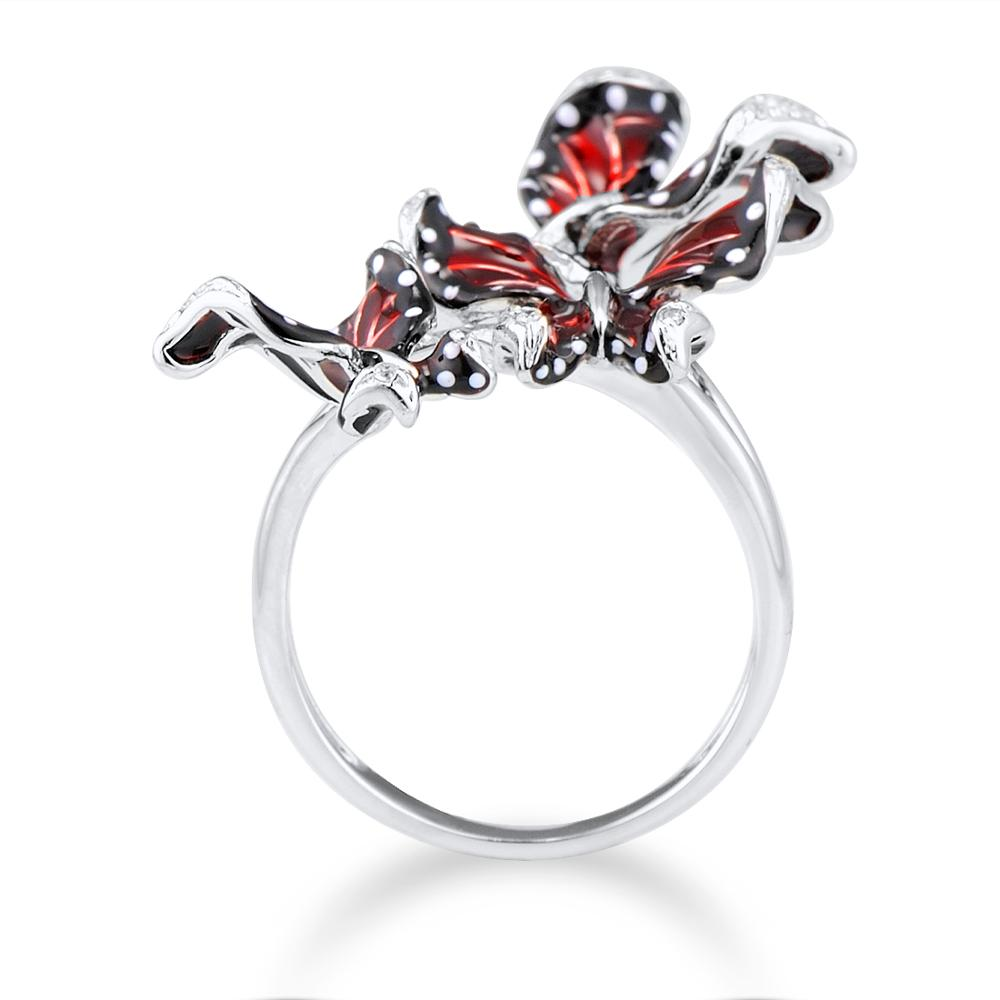 Image 3 - SANTUZZA Silver Ring For Women Genuine 100% 925 Sterling Silver Red Butterflies кольцо Trendy Fashion Jewelry Handmade Enamel-in Rings from Jewelry & Accessories