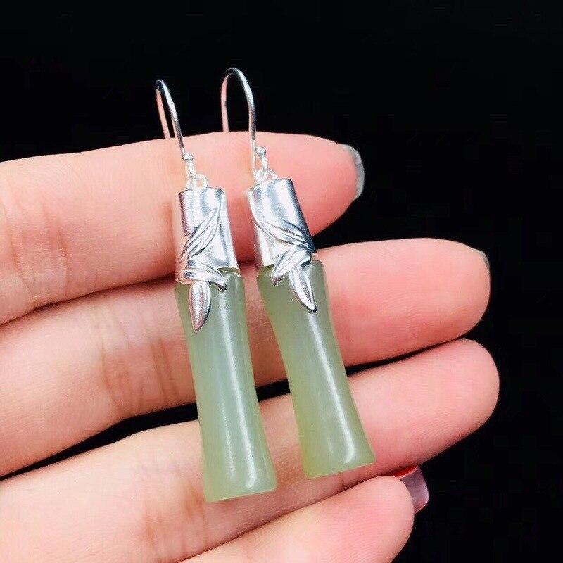 Boucles d'oreilles Pendientes Brincos vente directe Tai Vintage Ea Aretes oreilles gland Xuan, Hetian bambou pendentif accessoires de décoration