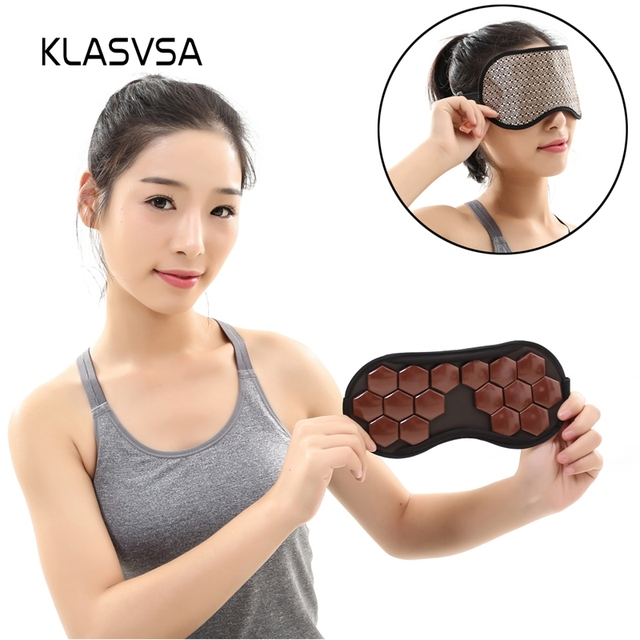 KLASVSA Tourmaline Therapy Sleep Face Eye Mask Anti Stress Facial Relax Health Germanium Anion Patch Massage Tourmaline Stone