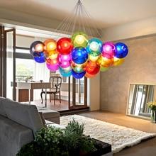 Nordic LED Colorful Glass Ball Pendant Lights Living Room Restaurant Home Deco Bar Coffee Design Hanging Lamps Lighting Fixtures