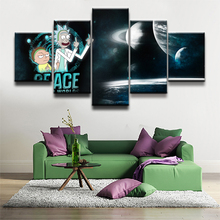 Wall Art Canvas Prints 5 Pieces Rick And Morty Poster Anime Science Fiction Comedy Pictures For Modern Kids Room Decor Framework