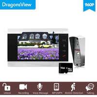 """Dragonsview Verdrahtete 960P 7 """"AHD Video Tür Telefon Video Intercom Türklingel System Sd-karte Unterstützt Dual Weg Sprechen entsperren Taste"""