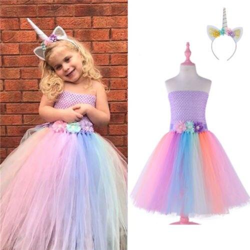 4e48406354f 2019 New Princess Girl Colorful Party Dress Kid Baby Girl Unicorn Wedding  Party Sleeveless Tulle Tutu