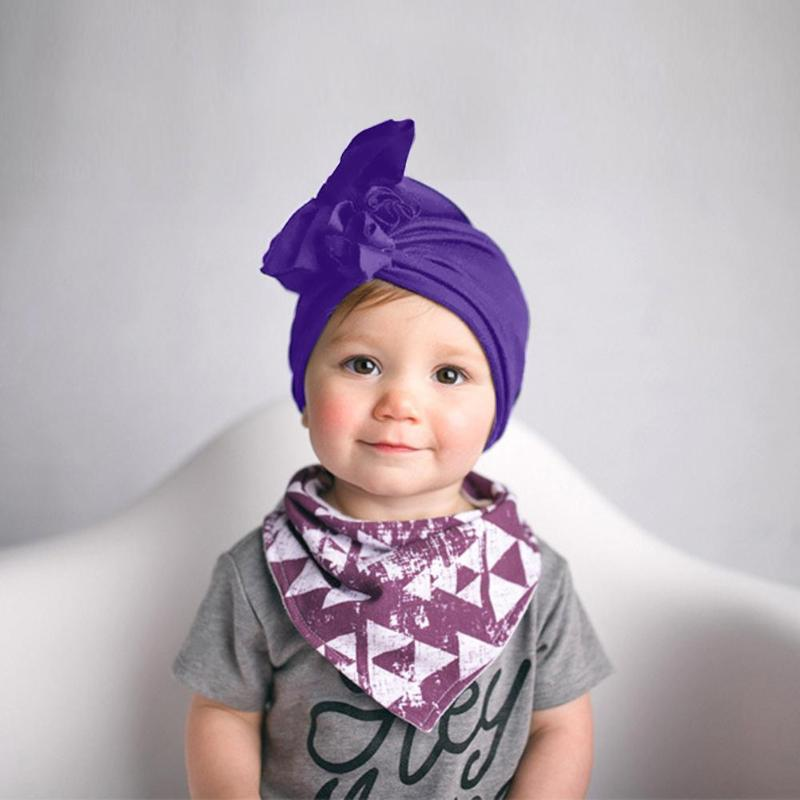 Newborn Baby Purple Knot India Hat Kids Girl Flower Head Wrap Caps Beanie Baby Headscarf Cotton Hat Infant Products Accessories