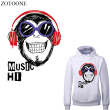 ZOTOONE Music Monkey Iron on Transfer Letter Patches for Clothing DIY T-shirt Heat Vinyl Stickers Stripes Clothes