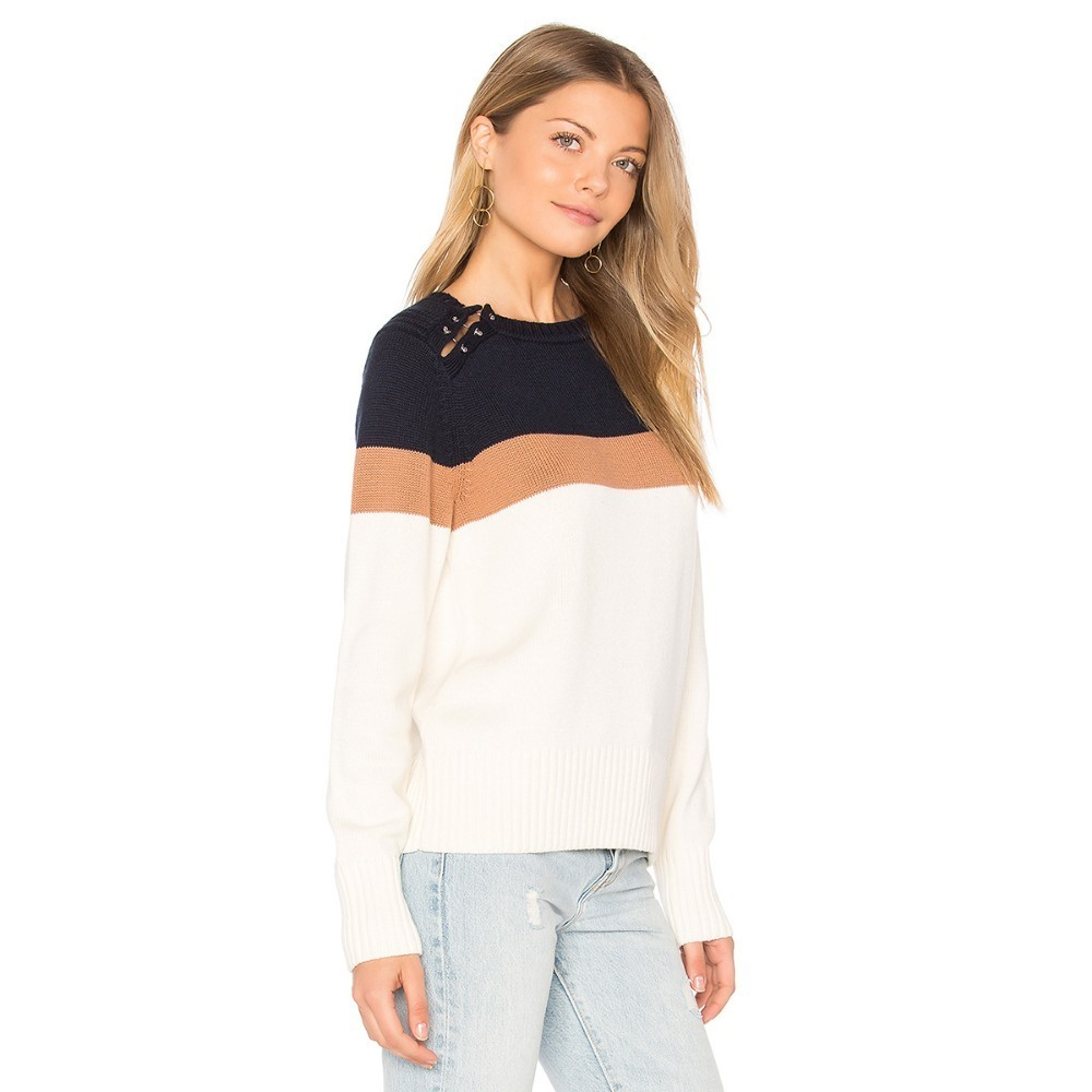 HYH HAOYIHUI  Fashion Simplicity New Arrival Sweet Academic Style Color Collision Splicing Leisure Long Sleeves Sweater