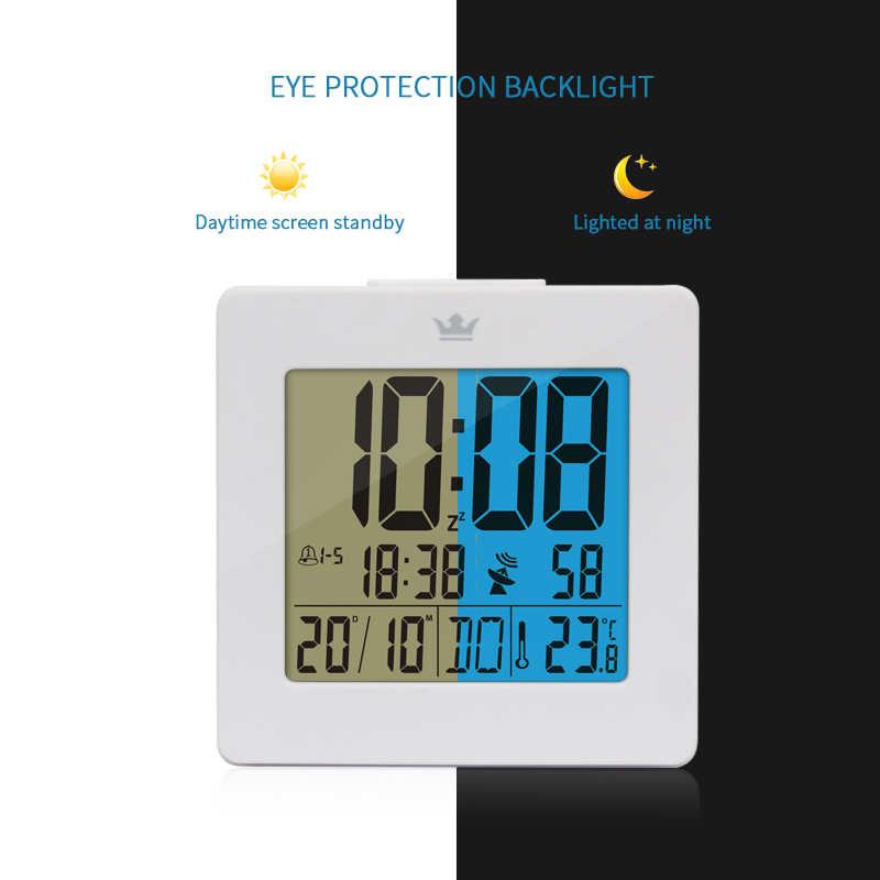 Dcf rádio controle relógio digital com luz de fundo azul tempo dia mês semana temperatura tela lcd snooze despertador do quarto