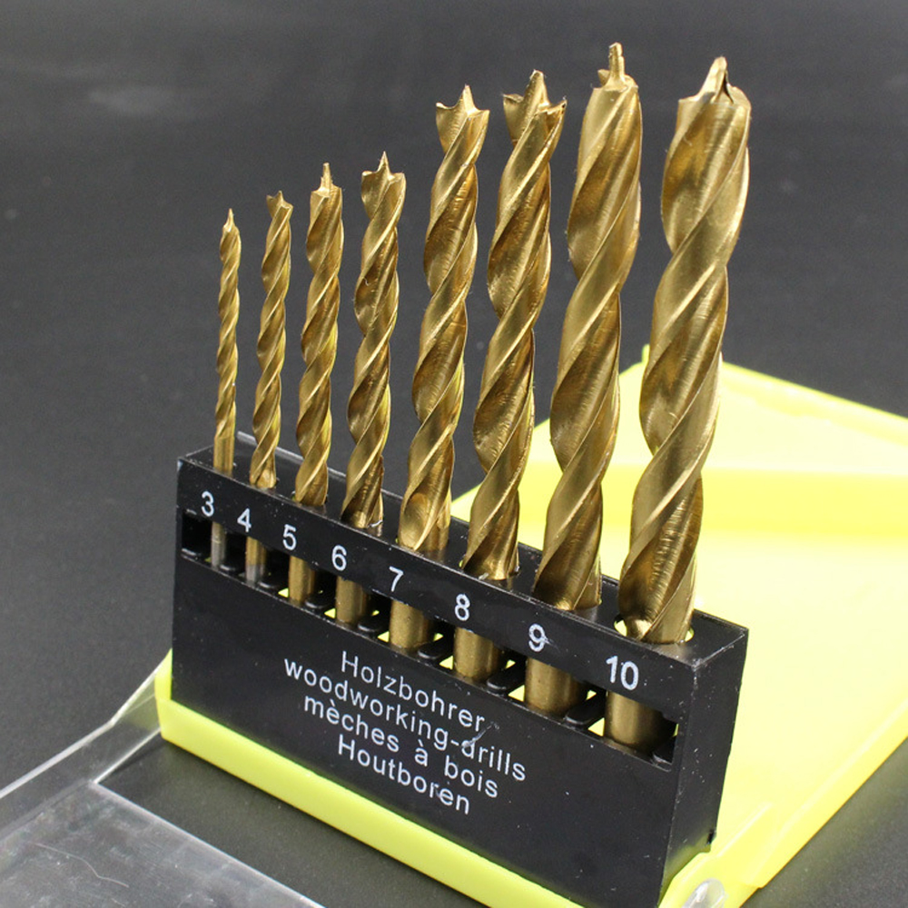 Romantic 8pcs 3-10mm Titanium-plated Woodworking Three-point Drill Bit Set Wood Timber Drilling Tool Clearing Woodworking Drills Drill Bits